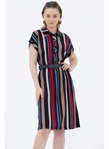 Sementa Çizgi Desenli Kemerli Elbise - Kırmızı - Lacivert Kırmızı